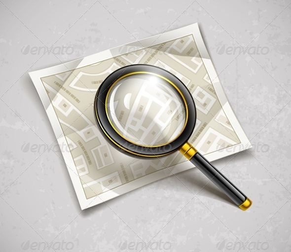 GraphicRiver Loupe Magnifying Glass Tool with Streets Map 6747427