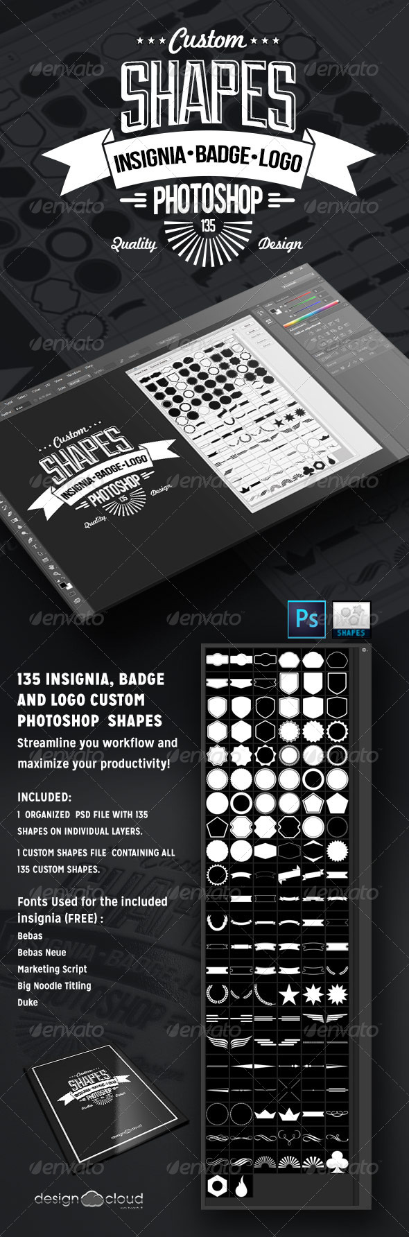 GraphicRiver 135 Insignia Badge and Logo Custom PSD Shapes 6747588