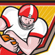 American Football Running Back Run Shield Cartoon - GraphicRiver Item for Sale