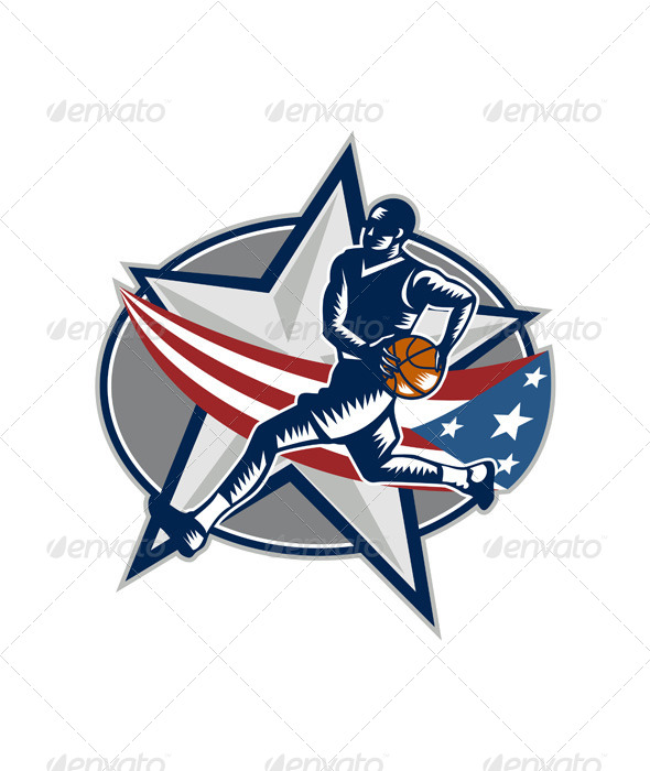 GraphicRiver Basketball Player Fast Break Lay-Up Woodcut 6747724