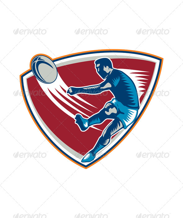 GraphicRiver Rugby Player Kicking Ball Shield Woodcut 6747730