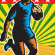 Rugby Player Running Ball Shield Retro - GraphicRiver Item for Sale