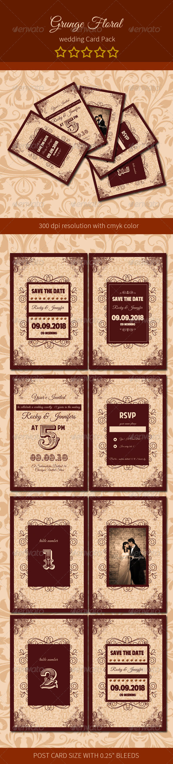 GraphicRiver Grunge Floral Wedding Card Pack 6748022
