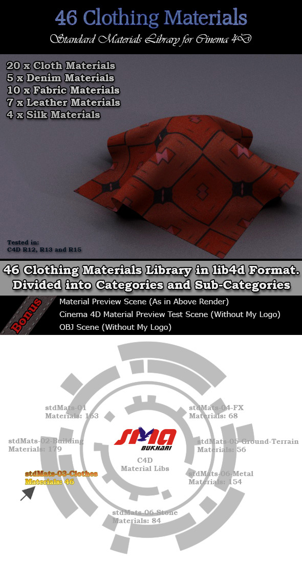 3DOcean 46 Clothing Materials Pack for Cinema 4D 6748154