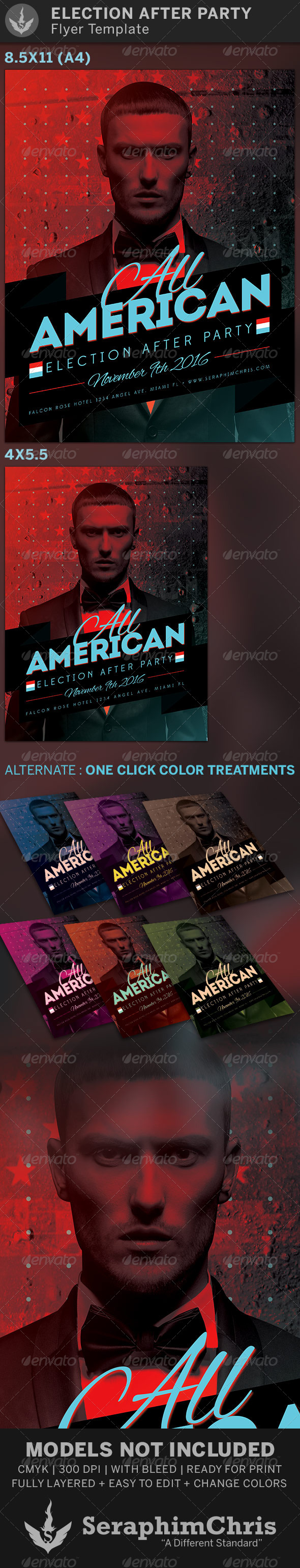 All American: Election After Party Flyer Template - Events Flyers