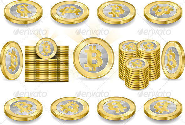 GraphicRiver Set of One Bitcoins Isolated on White 6750161