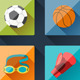 Sport Icons and Backgrounds in Flat Design Style. - GraphicRiver Item for Sale