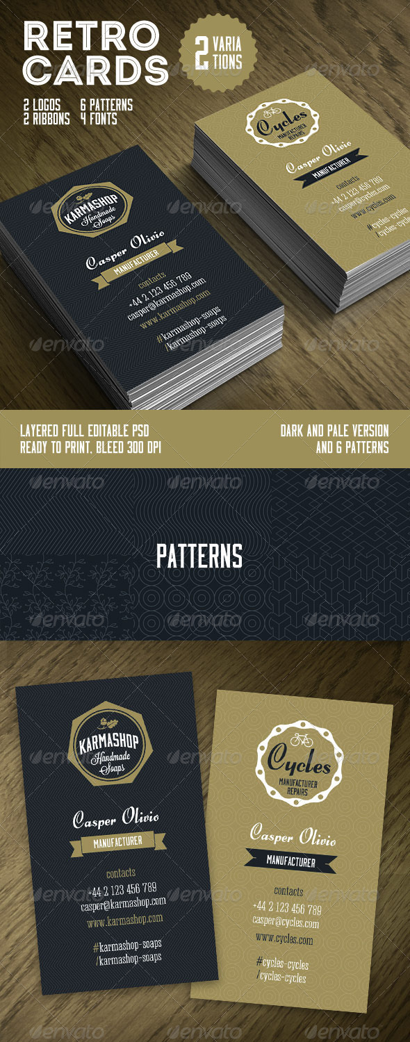 GraphicRiver Retro Business Cards Template 6687603