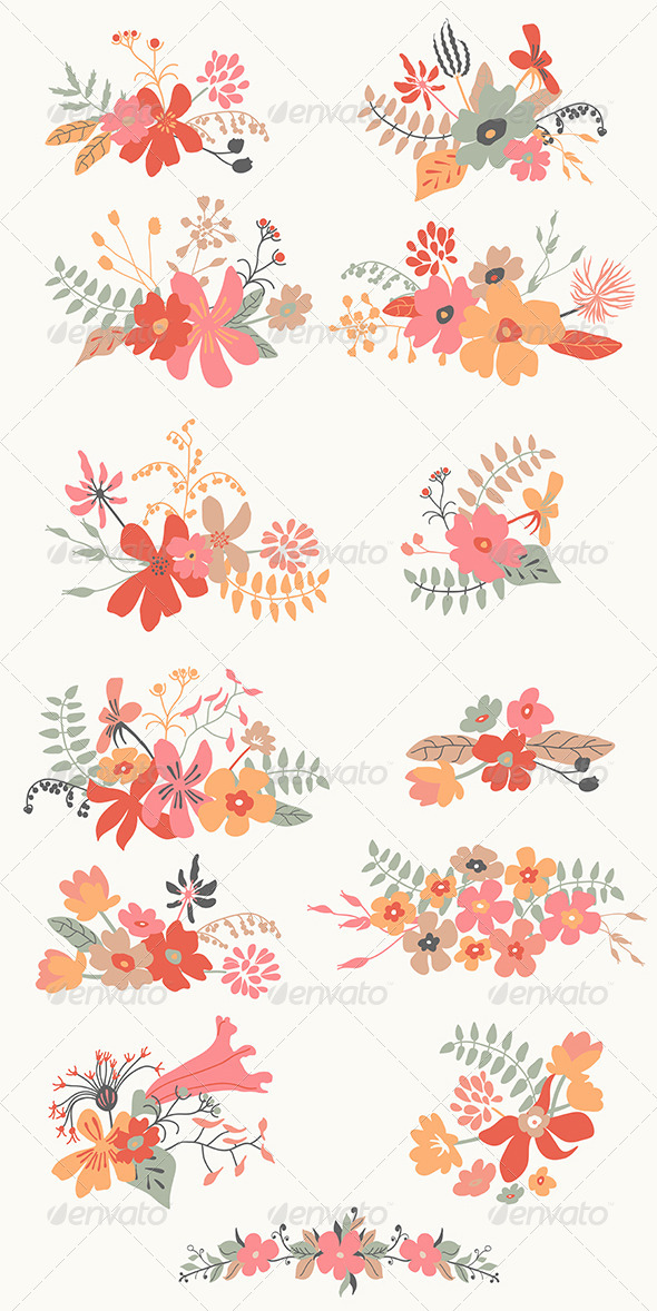 GraphicRiver Set of Graphic Floral Design 6751224