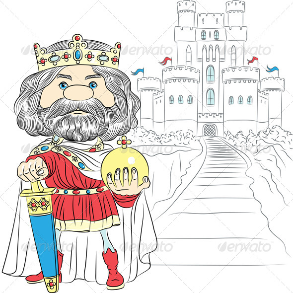 GraphicRiver Vector Cartoon King Charles the First in the Crown 6752289