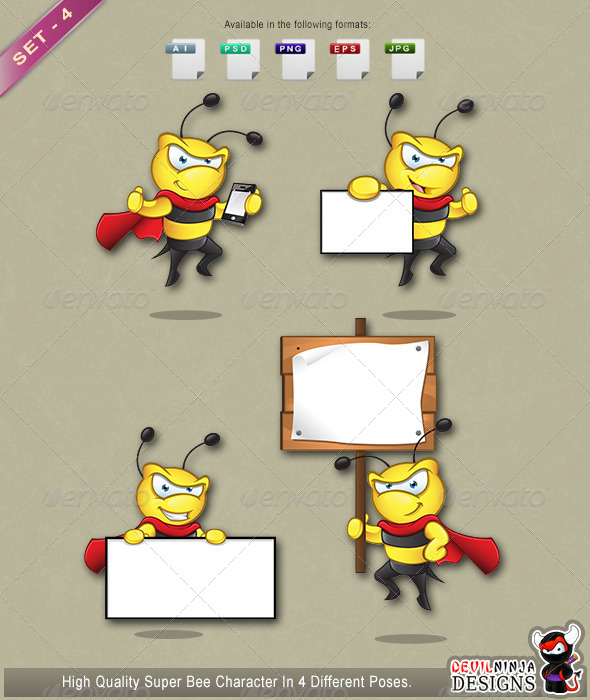 GraphicRiver Super Bee Character Set 4 6752315