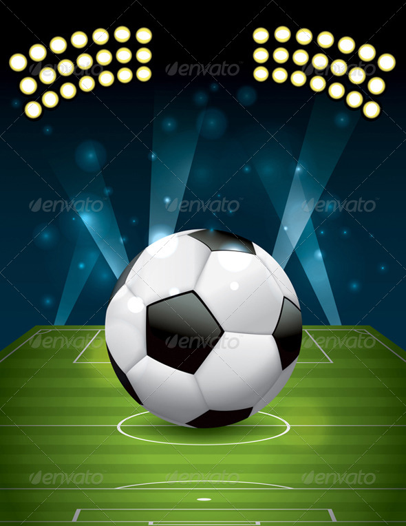 GraphicRiver Vector Football Soccer Ball on Field 6753740