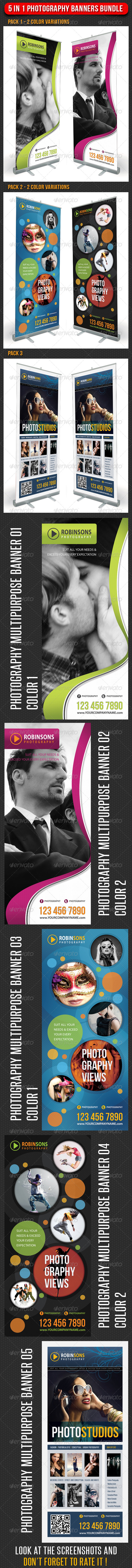 GraphicRiver 5 in 1 Photography Multipurpose Banner Bundle 02 6755119