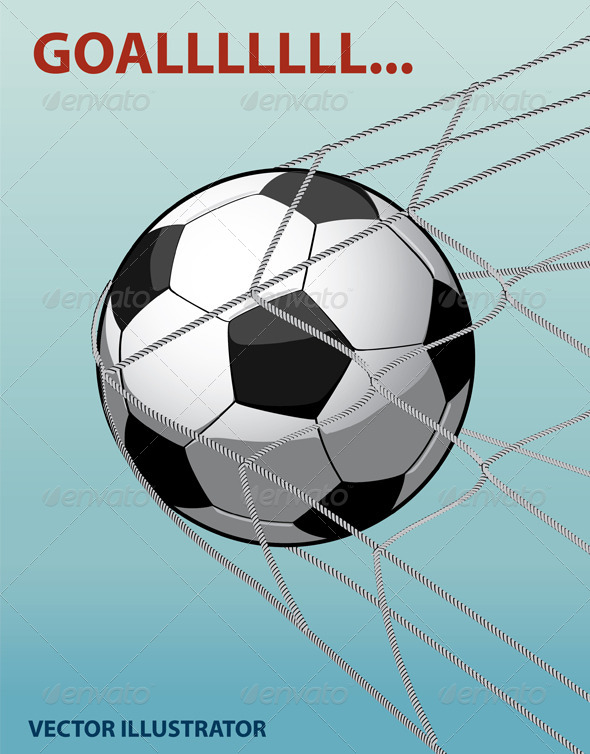 GraphicRiver Soccer Ball in The Goal Net on The Blue Background 6756024
