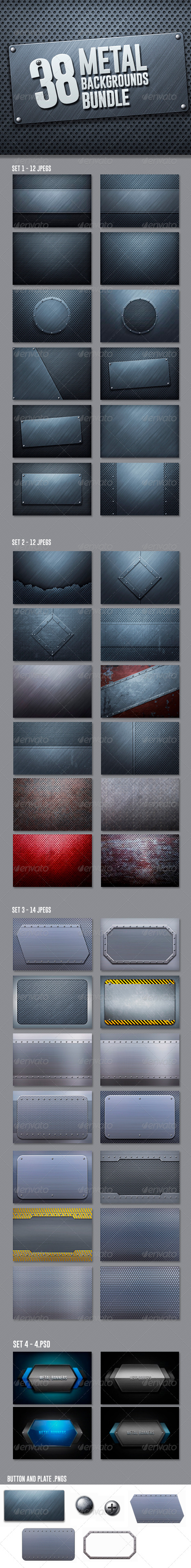 GraphicRiver 42 Metal Backgrounds Bundle 6756296