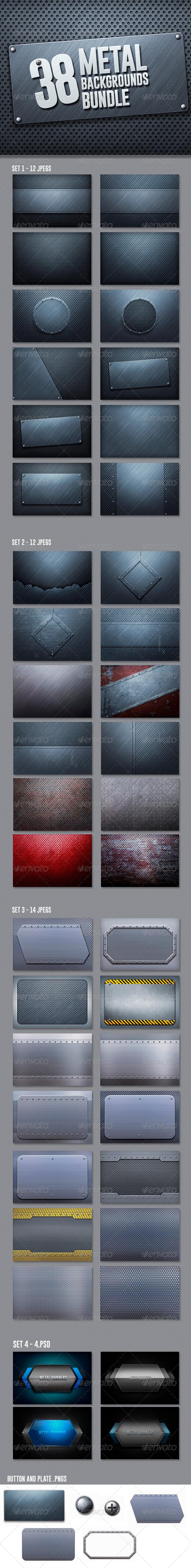 GraphicRiver 42 Metal Backgrounds Bundle 6756296