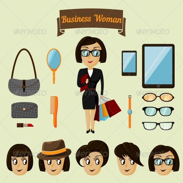 GraphicRiver Hipster Character Pack for Business Woman 6757014
