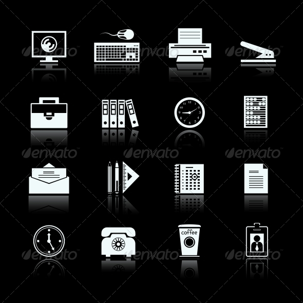GraphicRiver Business Office Supplies Pictograms Set 6757028