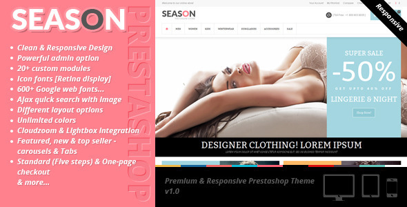 ThemeForest Season Premium & Responsive Prestashop Theme 6761206