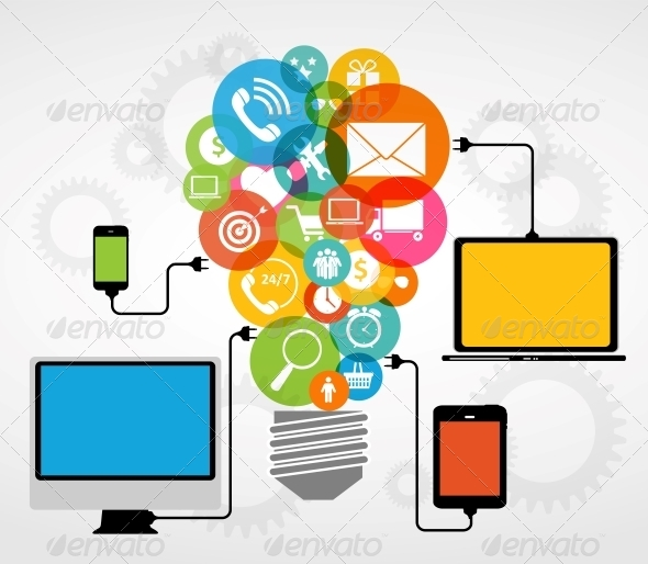 GraphicRiver Cloud Computing Concept on Electronic Devices 6761303