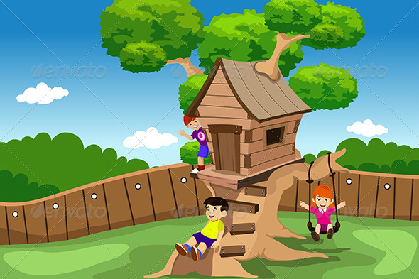 GraphicRiver Kids Playing in a Tree House 6762127