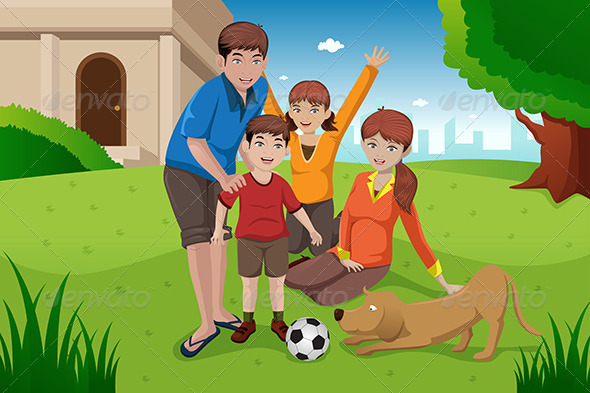 GraphicRiver Family with Pets 6763529
