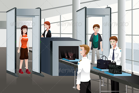 GraphicRiver Passengers Walking Through Security Check 6763703