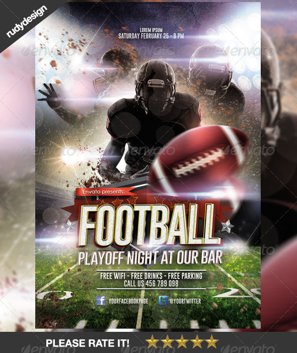 GraphicRiver American Football Playoff Night Template Design 6764234