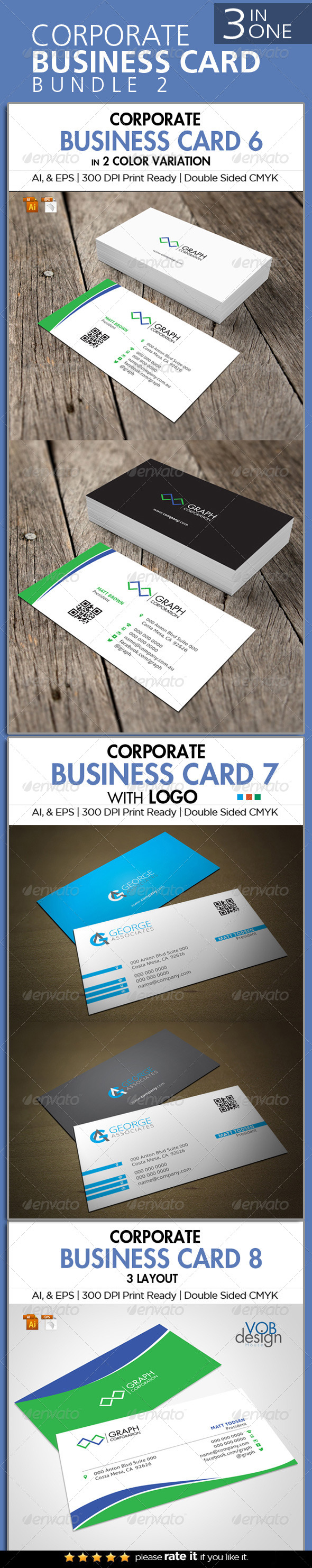 GraphicRiver 3 in One Busienss Card Bundle 2 6758029