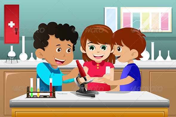 GraphicRiver Kids Learning Science in a Lab 6764679