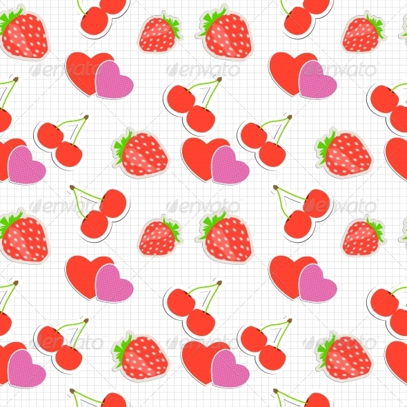 GraphicRiver Strawberry Cherry and Heart Seamless Pattern 6764852