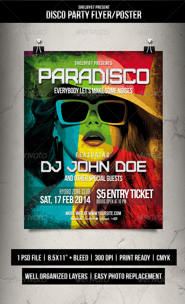 GraphicRiver Disco Party Flyer Poster 6765044