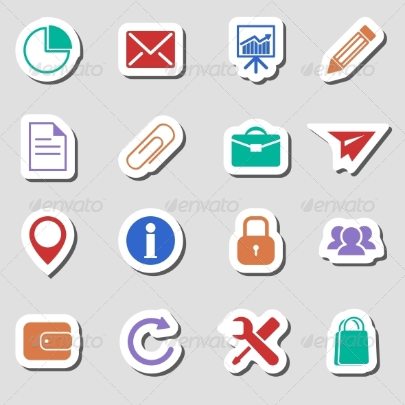 GraphicRiver Color Business Icons as Labes 6765693