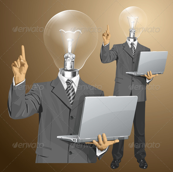 GraphicRiver Lamp Head Businessman with Laptop 6766604
