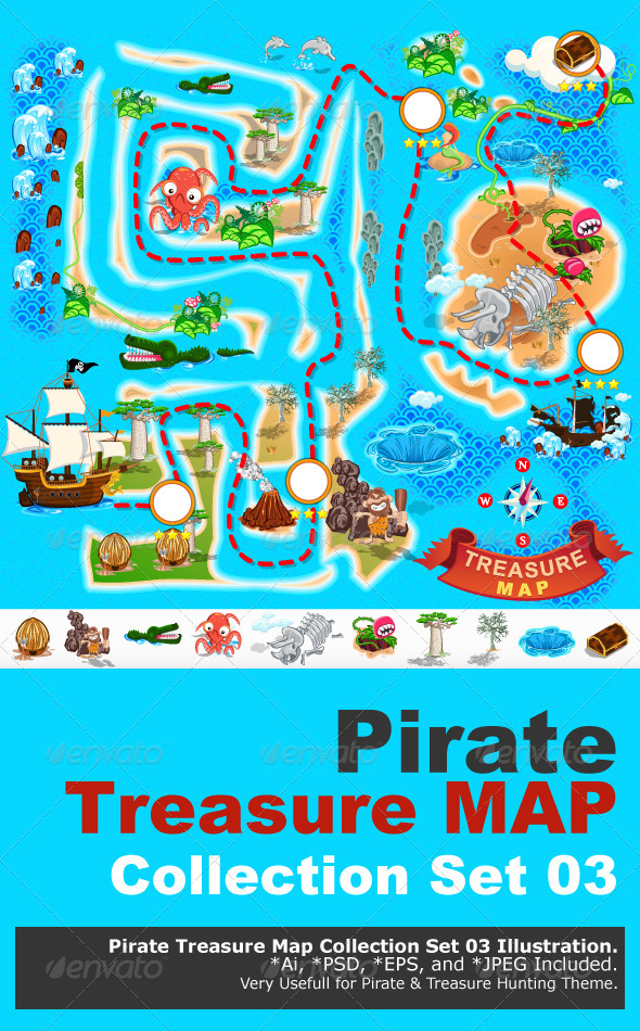 GraphicRiver Pirate Treasure Map 6767014