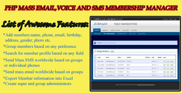 PHP Mass Email and SMS Membership Manager - CodeCanyon Item for Sale