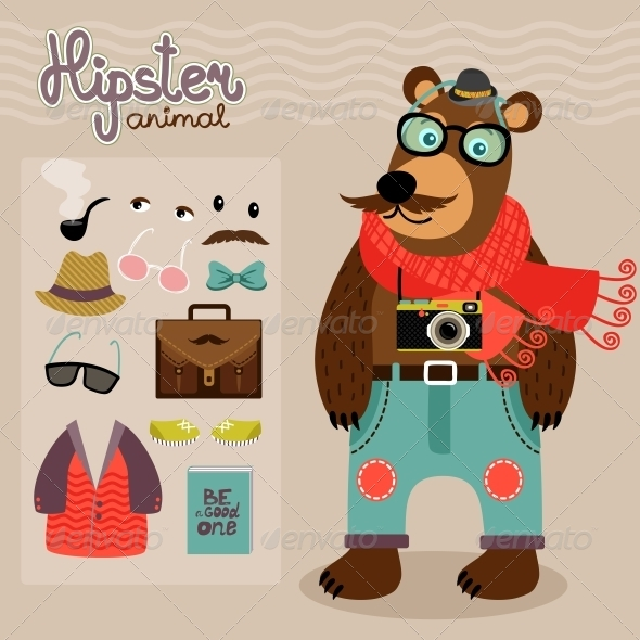 GraphicRiver Hipster Pack for Animal Teddy Bear 6769991