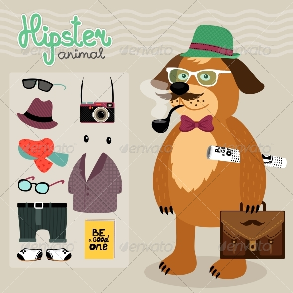 GraphicRiver Hipster Elements for Puppy Dog 6769993