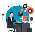 Businessman in the office flat illustration - PhotoDune Item for Sale