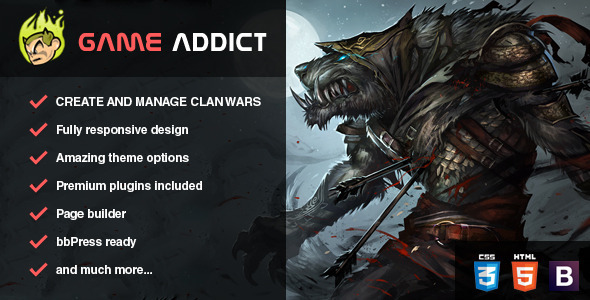Game Addict - Clan War Gaming Theme - Technology WordPress