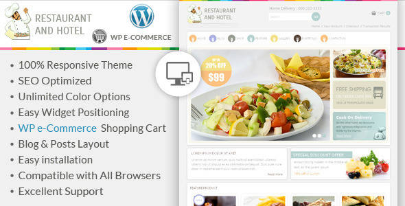 ThemeForest Restaurant Wordpress E-Commerce Theme 6712071