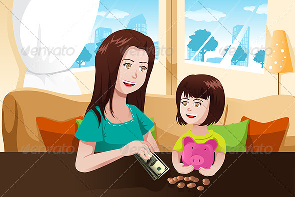 GraphicRiver Mother and Daughter with Piggy Bank 6774526