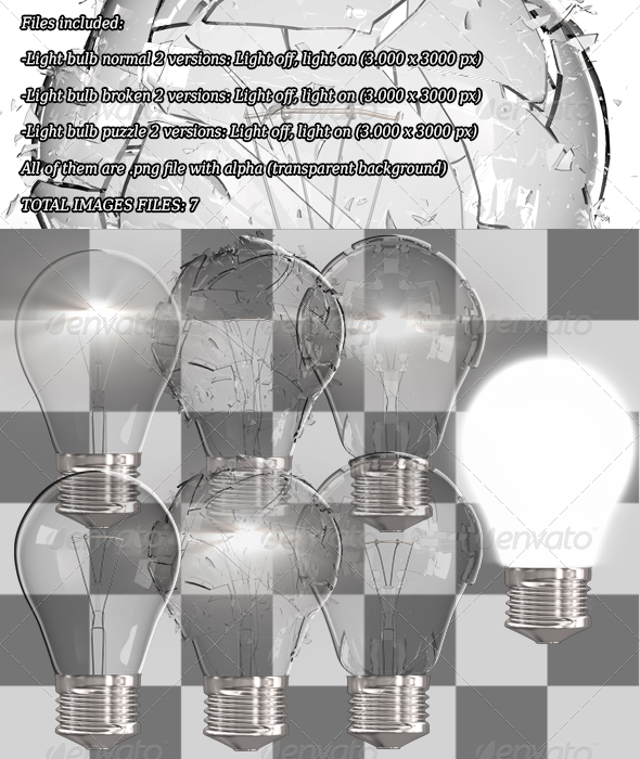 GraphicRiver Light Bulb Breaking Normal and Puzzle Shaped 6776774