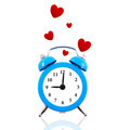 Alarm clock with floating red hearts isolated on white - PhotoDune Item for Sale
