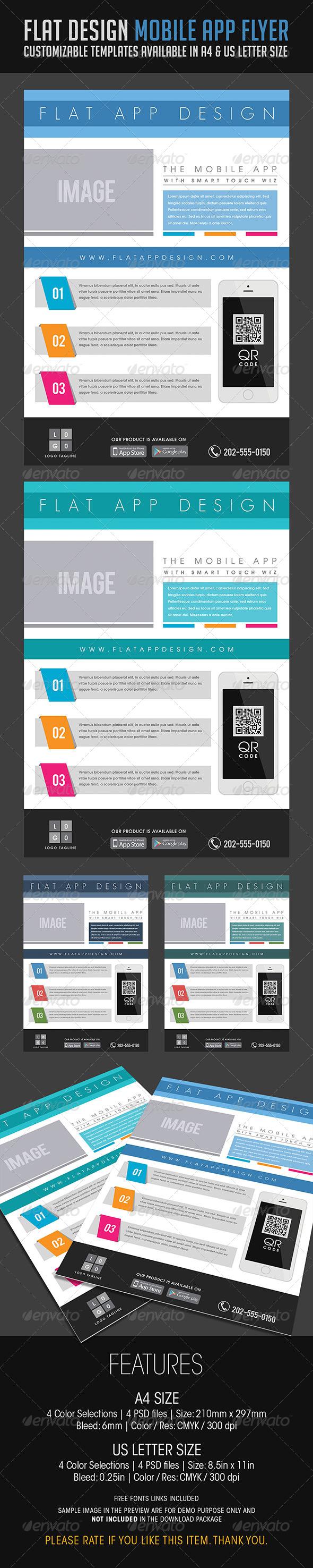 GraphicRiver Flat Design Mobile App Flyer 6779582