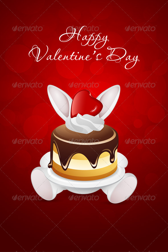 GraphicRiver Valentine s Day Card with Rabbit and Cake 6779747