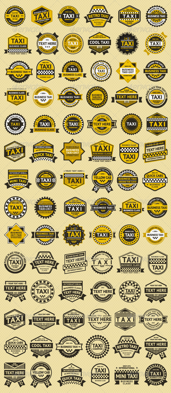 GraphicRiver 84 stamps Taxi Insignia 6779879