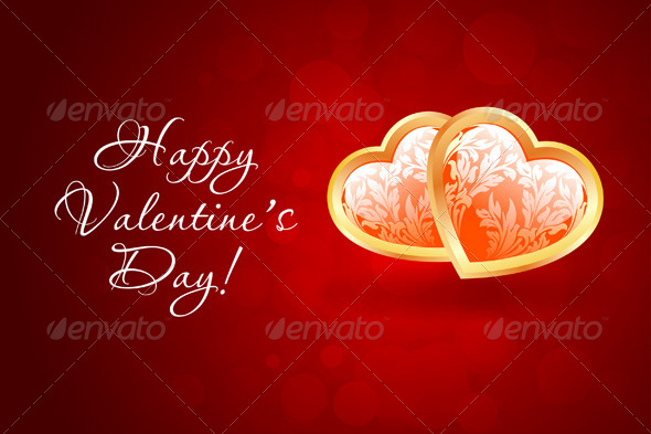 GraphicRiver Valentine s Day Background with Floral Hearts 6780198