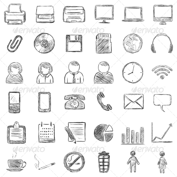 GraphicRiver Set of 36 Black Sketch Icons 6780309
