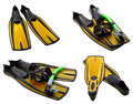 Set of yellow flippers, mask, snorkel for diving with water drop - PhotoDune Item for Sale